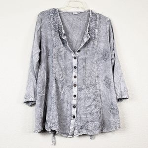 Gray Embroidered romantic top